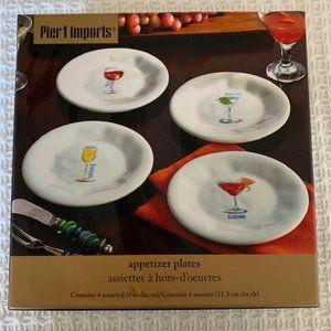 Pier 1 Appetizer Plates(4) Cocktail Designs~NIB